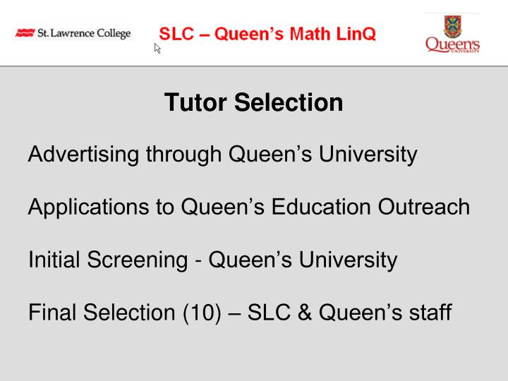Tutor Selection