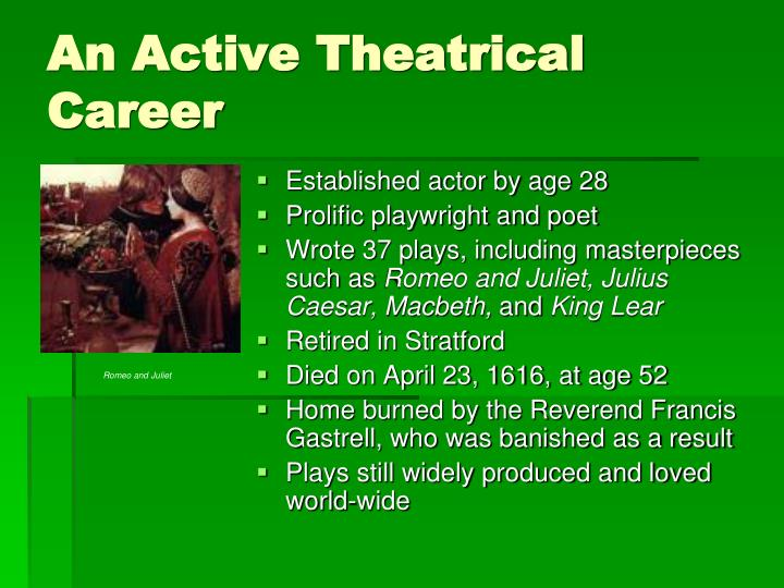 An Active Theatrical Career