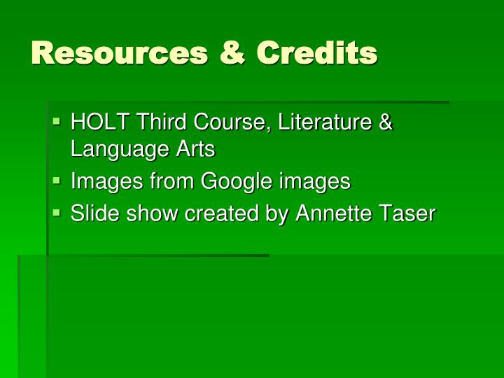 Resources & Credits