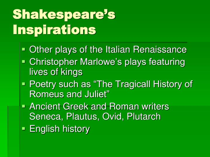 Shakespeare's Inspirations