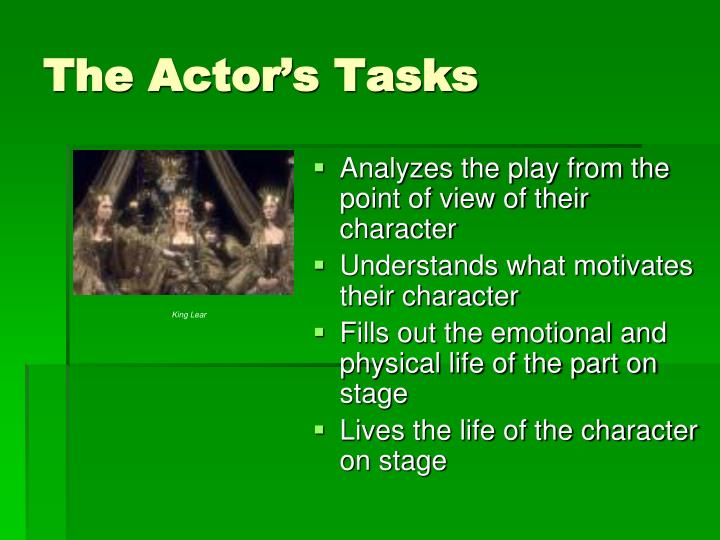 The Actor's Tasks