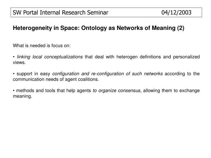 SW Portal Internal Research Seminar              04/12/2003