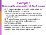 example 1 reducing the vulnerability of cald groups