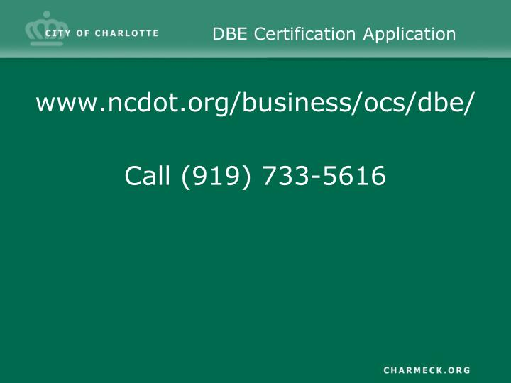 DBE Certification Application