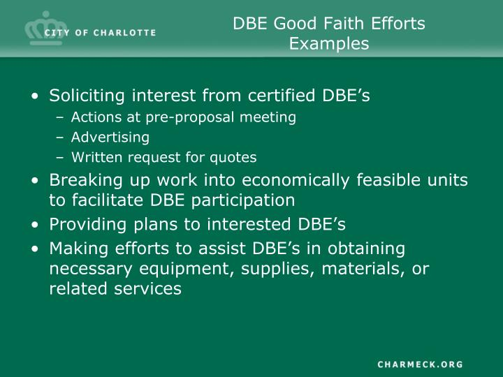 DBE Good Faith Efforts