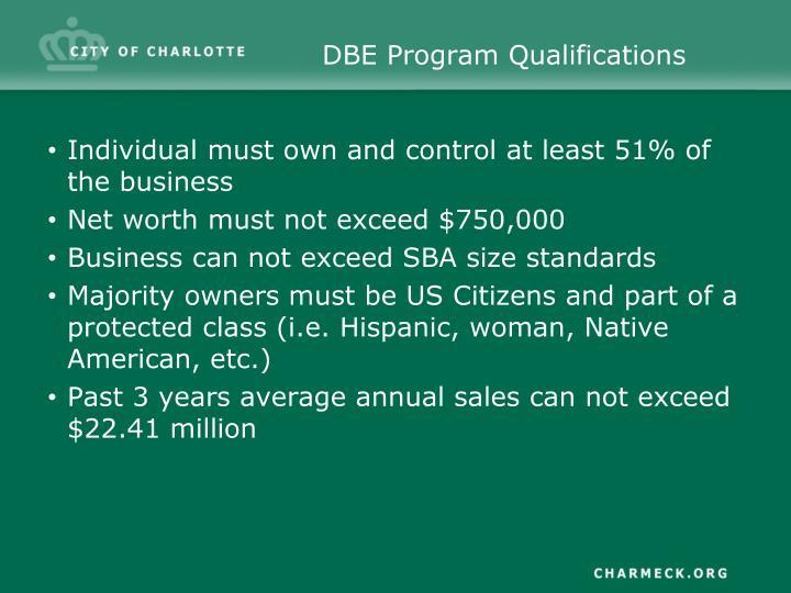 DBE Program Qualifications