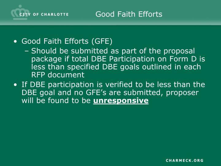Good Faith Efforts