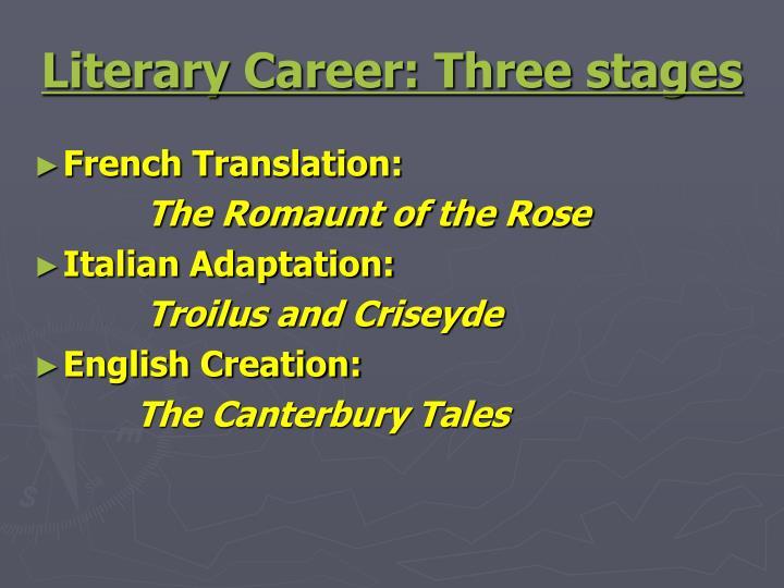 Literary Career: Three stages