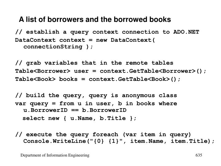 A list of borrowers and the borrowed books