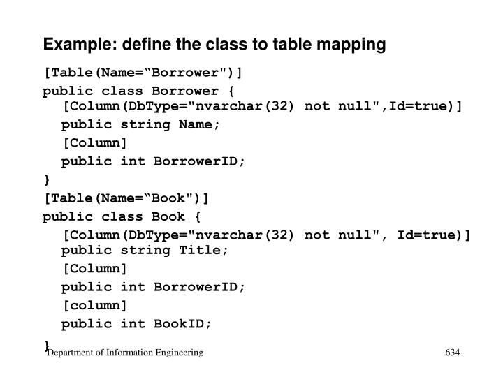 Example: define the class to table mapping