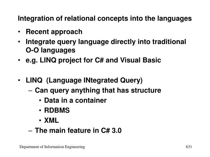 Integration of relational concepts into the languages