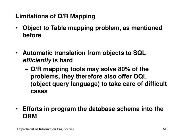 Limitations of O/R Mapping