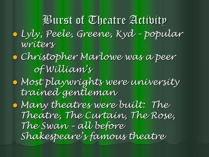 Burst of Theatre Activity