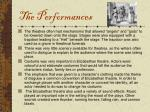 the performances