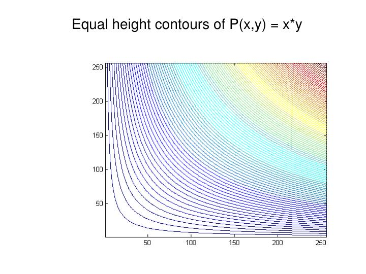 Equal height contours of P(x,y) = x*y