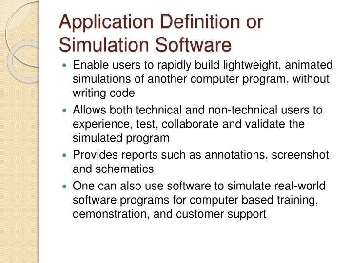 Application Definition or Simulation Software