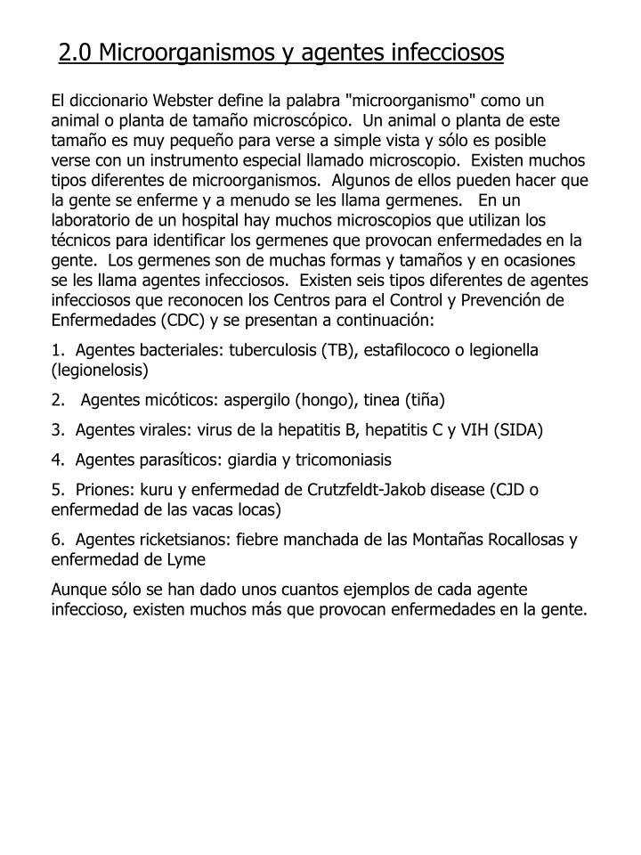 2.0 Microorganismos y agentes infecciosos