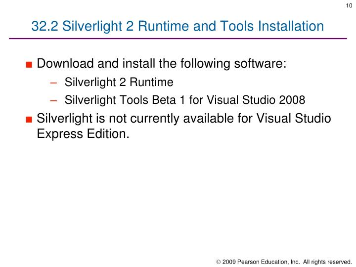 32.2 Silverlight 2 Runtime and Tools Installation