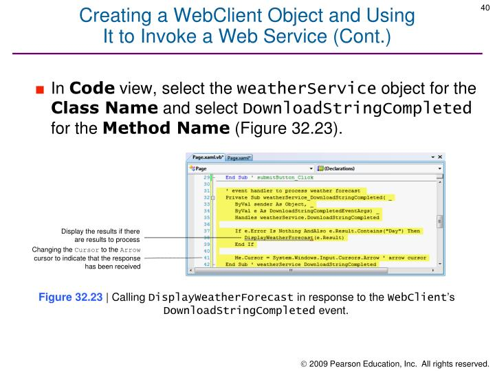 Creating a WebClient Object and Using