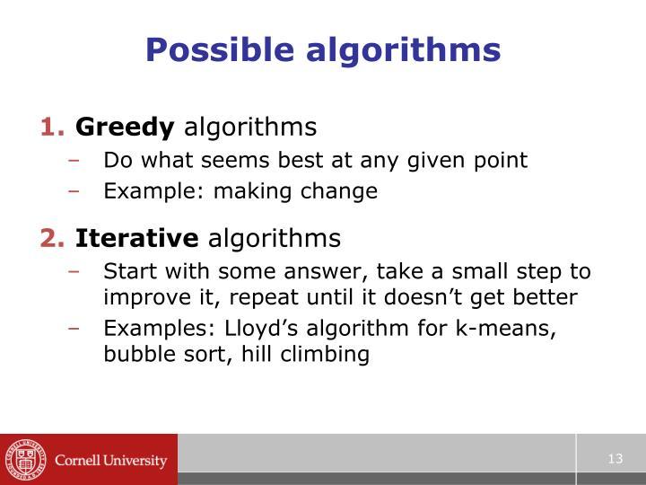 Possible algorithms