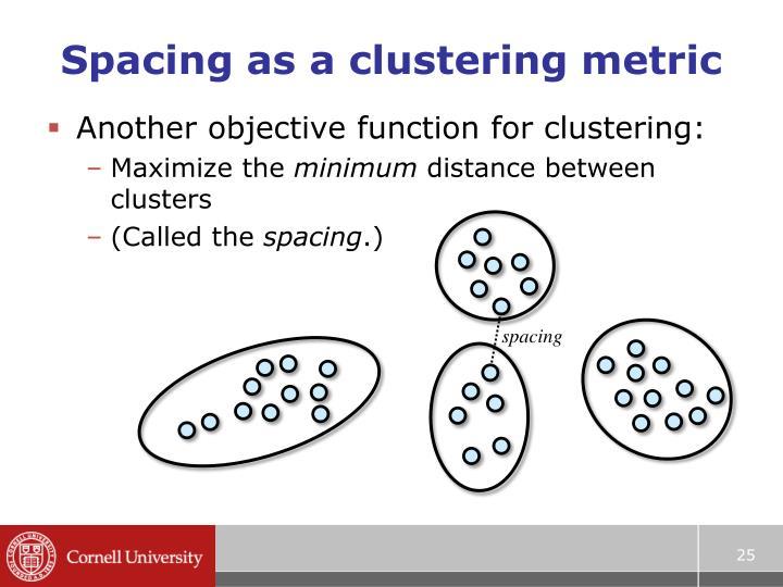 Spacing as a clustering metric