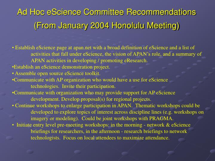 Ad Hoc eScience Committee Recommendations
