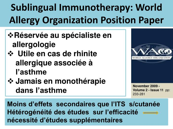 Sublingual Immunotherapy: World Allergy Organization Position Paper