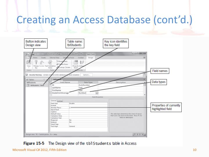 Creating an Access Database (cont'd.)