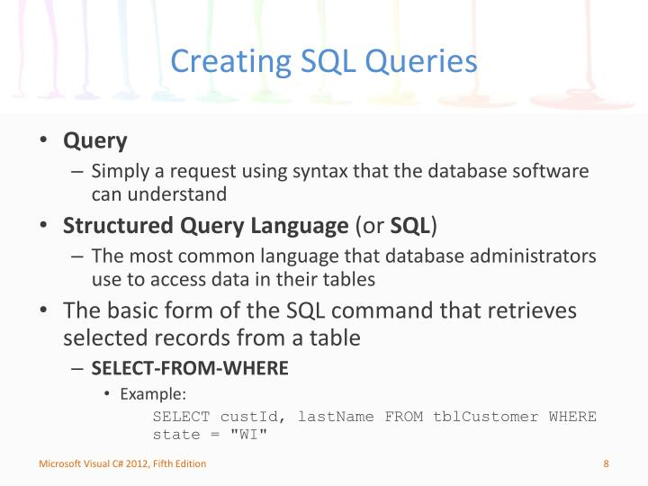 Creating SQL Queries