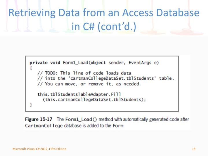 Retrieving Data from an Access Database in C# (cont'd.)