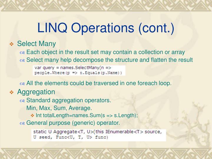 LINQ Operations (cont.)