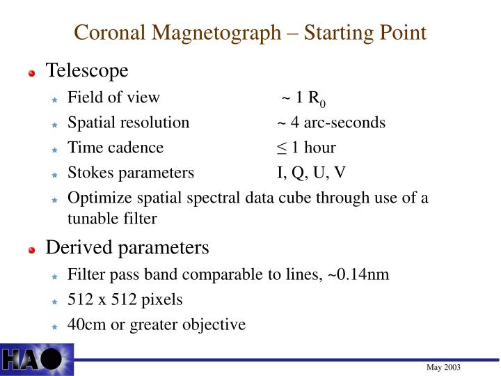 Coronal Magnetograph – Starting Point