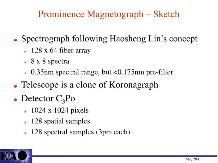 Prominence Magnetograph – Sketch