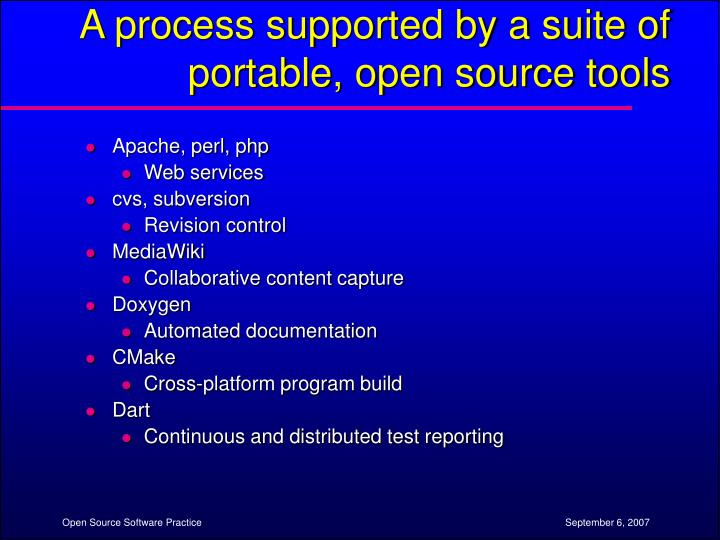 A process supported by a suite of portable, open source tools
