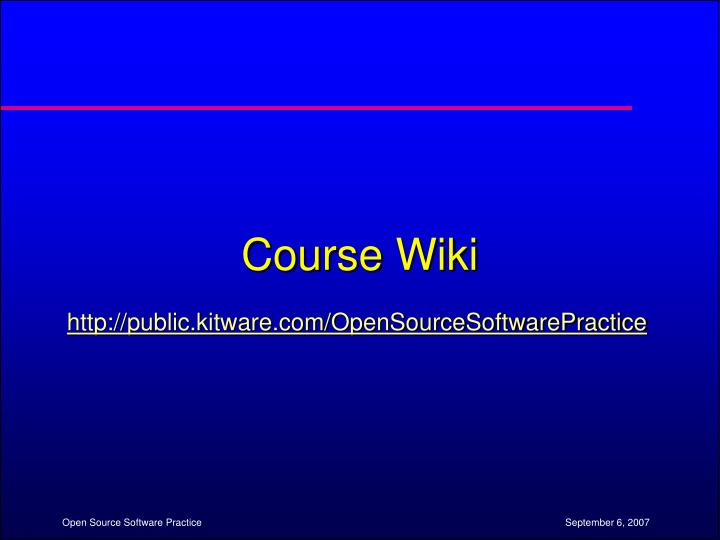 Course Wiki