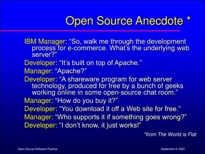 Open Source Anecdote *