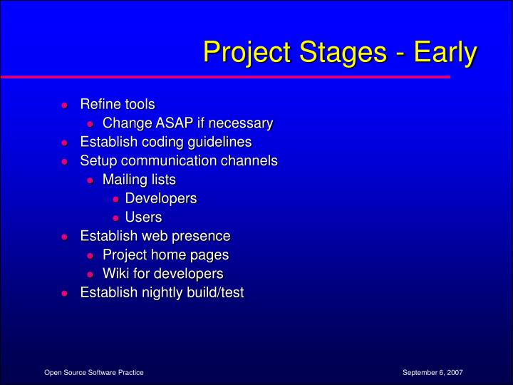 Project Stages - Early