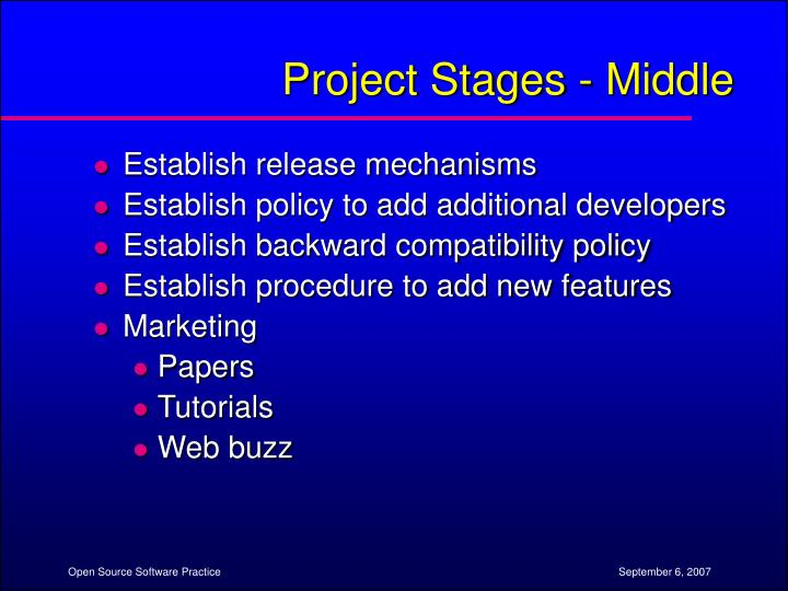 Project Stages - Middle