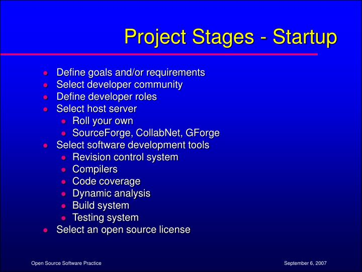 Project Stages - Startup