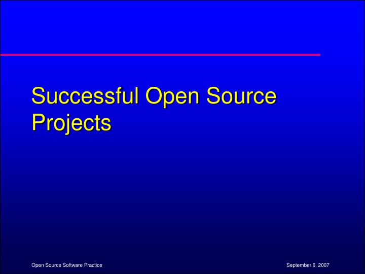 Successful Open Source Projects