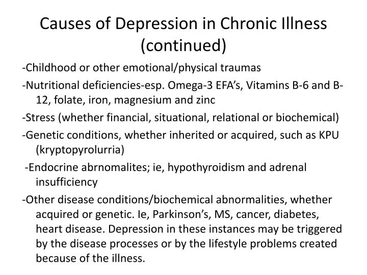 Causes of Depression in Chronic Illness (continued)