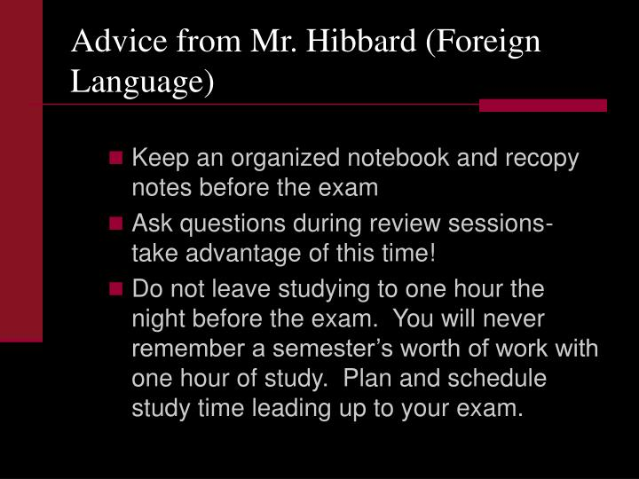 Advice from Mr. Hibbard (Foreign Language)