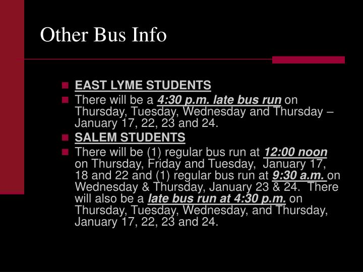 Other Bus Info