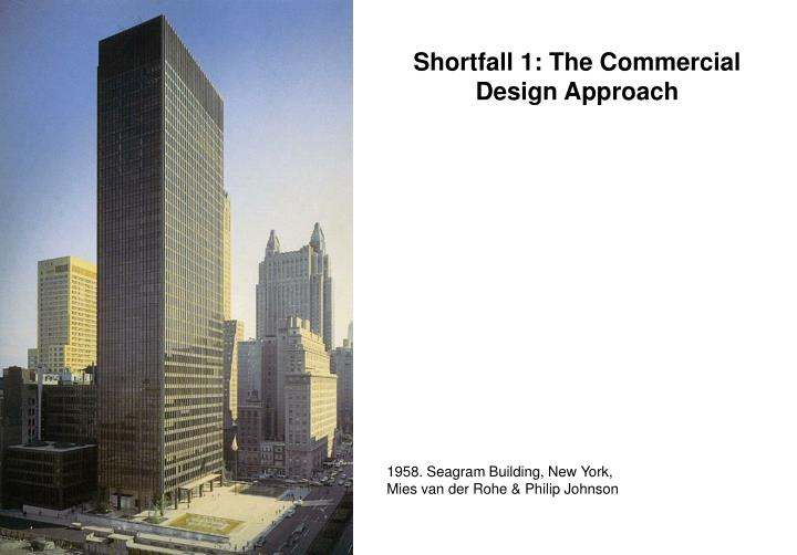 Shortfall 1: The Commercial  Design Approach