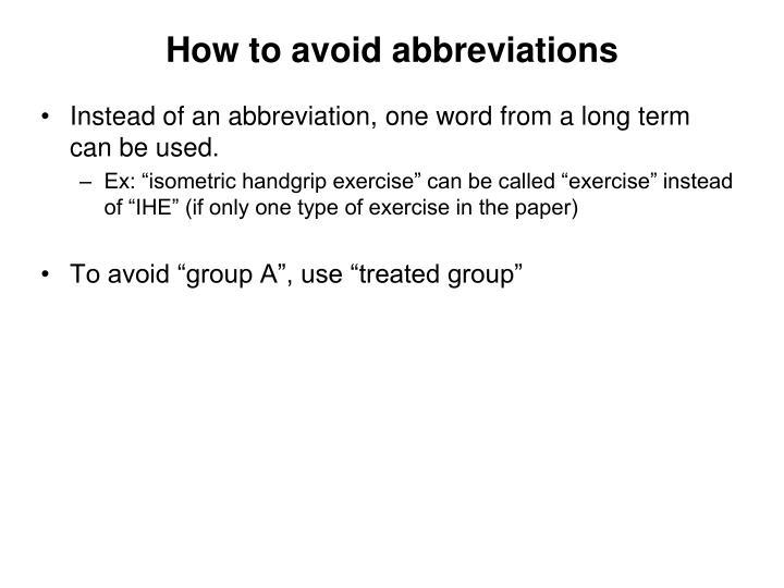 How to avoid abbreviations