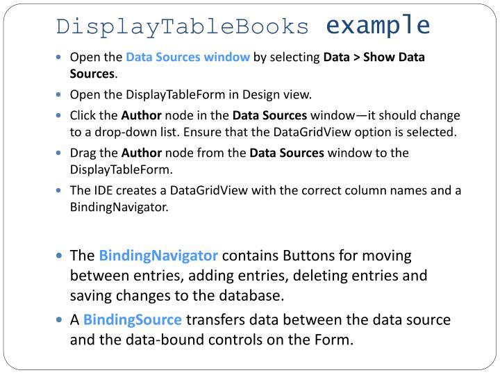 DisplayTableBooks