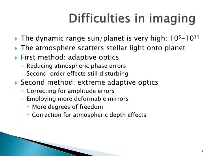 Difficulties in imaging