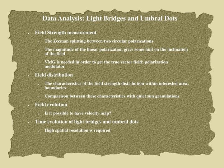Data Analysis: Light Bridges and Umbral Dots