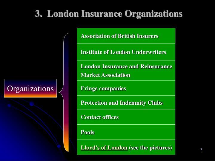 3.  London Insurance Organizations