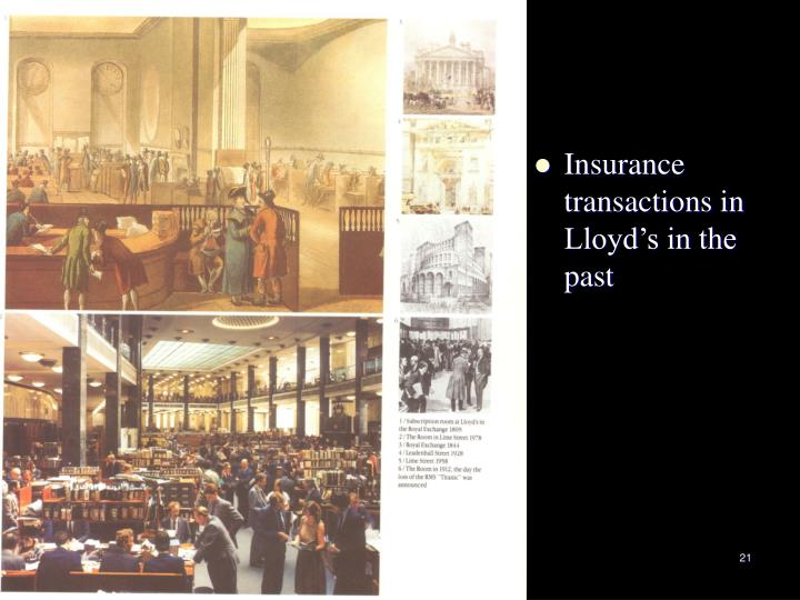 Insurance transactions in Lloyd's in the past